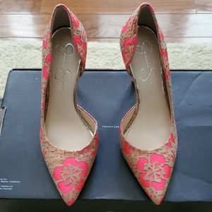 NWOT JESSICA SIMPSON NEON PINK AND CORK PUMPS